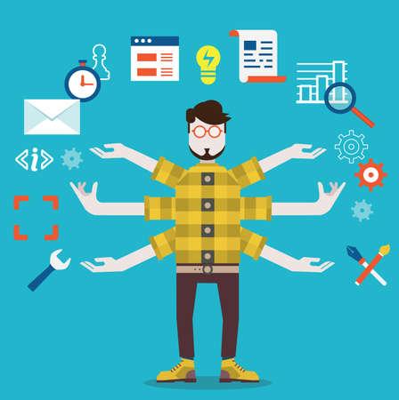 Ontwikkeling en internet service Human resource en zelfstandige - vectorillustratie