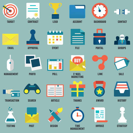 Set of flat business, commerce, internet service icons for design Vector
