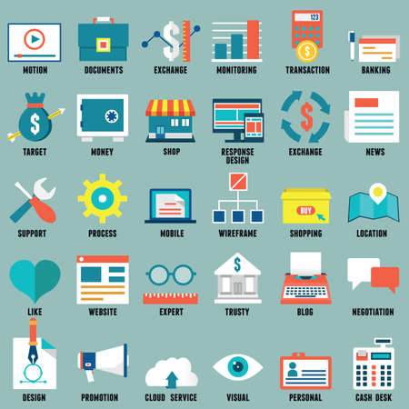 Set of flat business, commerce, internet service icons for design