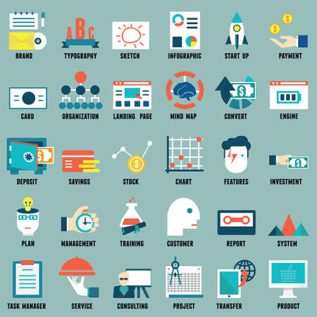 promote: Set of flat business, commerce, internet service icons for design