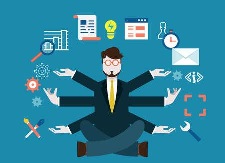 recursos humanos: Los recursos humanos y el desarrollo personal de negocios moderna - ilustración vectorial