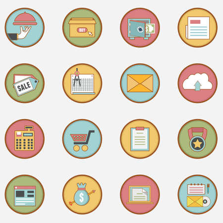 Set of vector retro business icons - part 2 - vector icons Vector