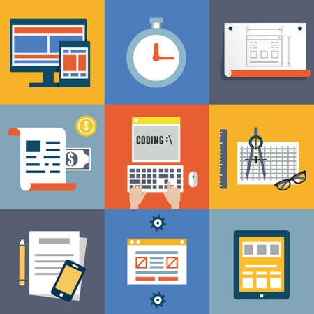 Vector flat illustration concept symbols set of modern programmer workflow for web coding and programming user interface elements Stock Vector - 28054619