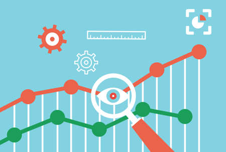 content management: Flat vector concept of web analytics information and development  Illustration