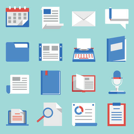 Set of vector flat icons for web and mobile applications  Communications and documents - vector icons