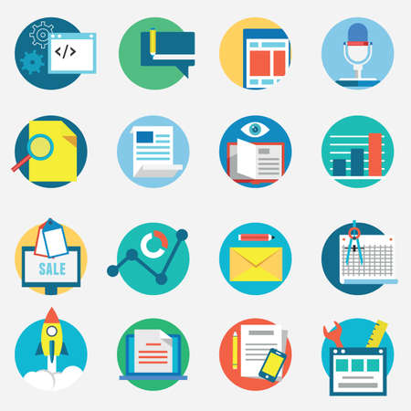 internet banking: Flat set of modern vector icons and symbols of business management or analytics and e-commerce theme - vector icons