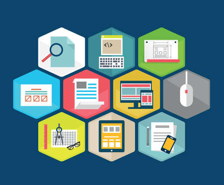 productivity system: Vector flat composition of programming interface - vector illustration