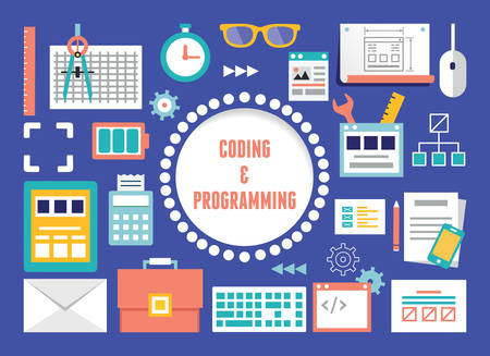 Vector concept of coding and programming with equipment - vector illustration Vector