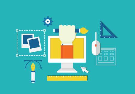 equipos trabajo: Vector concepto de dise�o web y dispositivos para equipos de trabajo para la creaci�n - ilustraci�n vectorial