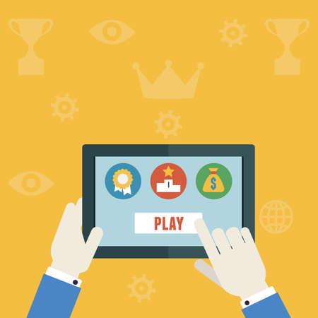 rewarding: Vector gamification concept of business - vector illustration Illustration