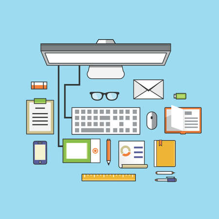 workstation: Workplace with mobile devices and documents  Flat style design - vector illustration