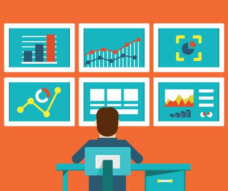 trabajo social: Ilustración plana de análisis web de información y el desarrollo Vectores