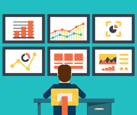 офис: Квартира векторные иллюстрации веб-аналитики информации и развития веб-сайта статистики - векторные иллюстрации