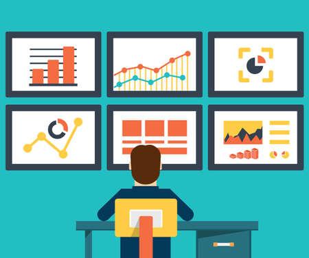 postazione lavoro: Illustrazione vettoriale piatto di web analytics informazioni e sviluppo di siti statistica - illustrazione vettoriale