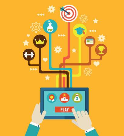 superacion personal: Concepto de gesti�n empresarial por gamification Integraci�n y desarrollo Interacci�n y crecimiento de las cualidades personales Vectores
