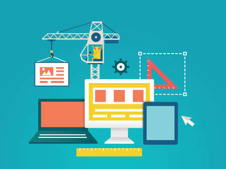 벡터 일러스트 레이 션 - 프로세스 코딩 및 장치 설계 및 프로그래밍을위한 모바일 응용 프로그램을 프로그래밍 벡터 평면 그림 일러스트