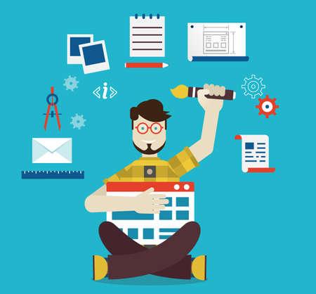 construction management: Designer and work - vector illustration