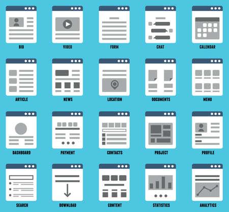 Vector set of responsive mapsites  for design  Flowcharts and structures of websites - vector elements Vector