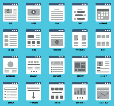 Vector set of responsive mapsites  for design  Flowcharts and structures of websites - vector elements