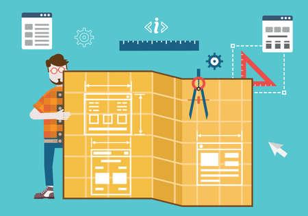 prototipo: Codificación y programación de aplicaciones móviles para dispositivos Diseño y programación de diseño web responsivo y Optimización - ilustración vectorial Vectores