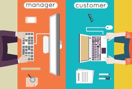 negotiate:  Vector illustration of customer relationship management  Business and development - vector illustration