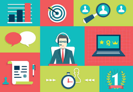Customer Relationship Management System Interaction en gamifacation - vector illustratie