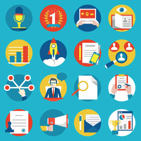 experience: Set of management human resources and customer experience icons - vector icons Illustration