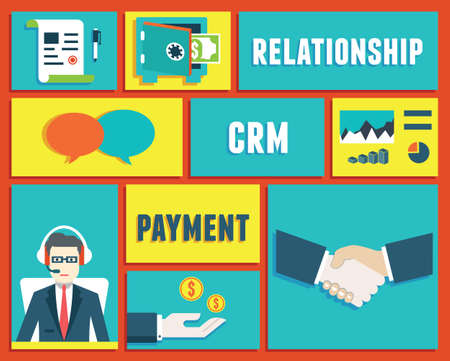 relationship management: Customer relationship management and payment service - vector illustration