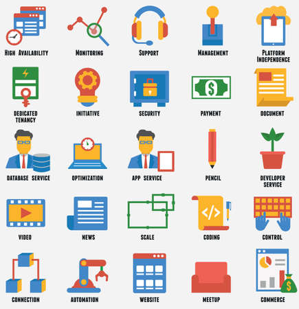 relationship management: Set of business and development icons  Customer relationship management and service - vector icons