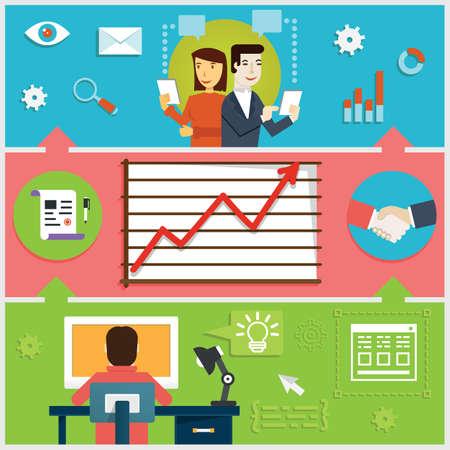 Infografik des kreativen Prozesses, Web-Design, Programmierung Entwicklungsgeschäft Interaktion und Workflow - Vektor-Illustration