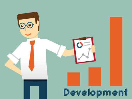 incarnate: Businessman and development, productivity of business - vector illustration