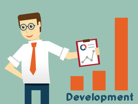 Businessman and development, productivity of business - vector illustration