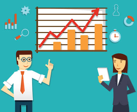 productivity system: Vector illustration of ecommerce market of web analytics  Businesspeople and development - vector illustration
