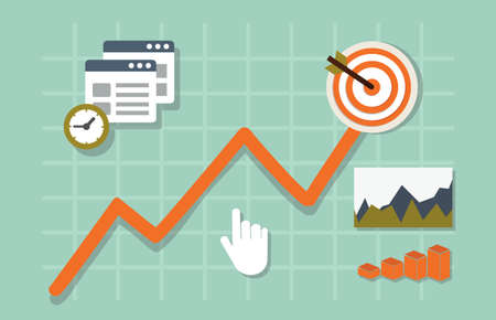 productive: Flat vector illustration of web analytics information and development website statistic - vector illustration