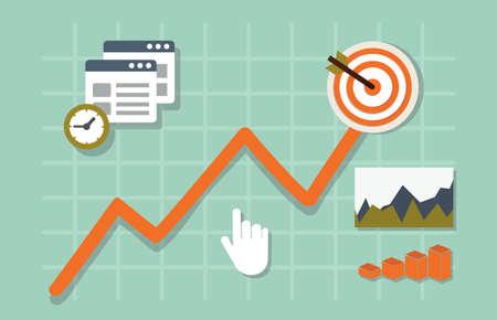 productividad: Ilustración vectorial plano de análisis web de información y desarrollo de sitios web estadística - ilustración vectorial Vectores