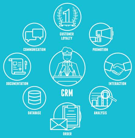 Concept de gestion de la relation client est un modèle de gestion d'une entreprise interactions avec les clients - illustration vectorielle