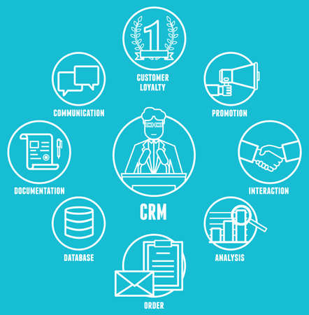 Concept of customer relationship management is a model for managing a company interactions with customers - vector illustration Vector