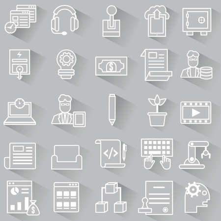 Set of vector business outline icons with shadow - vector icons Vector