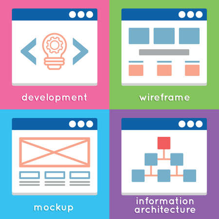 css: Process of programming mobile website  Stages of development, interaction and site architecture - vector elements