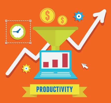 생산성 사업과 성장의 평면 개념 일러스트