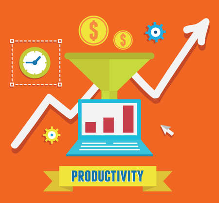 produce product: Flat concept of productivity business and growth