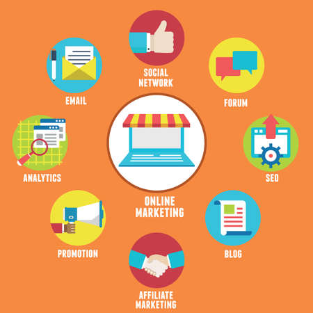 Concept of Online Marketing  Components and strategy  Illustration