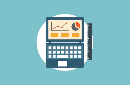 e data: Concept of  analytics research information and website data statistics - vector illustration