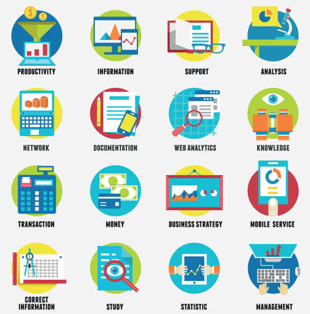 Web analytics information, development website statistic and business flat icons - vector icons