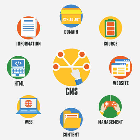 Concept of Content Management System.  Vector