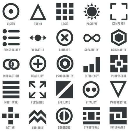 understandable: Set of geometric icons as symbols of human qualities - vector icons Illustration