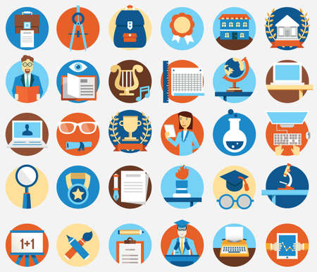 learning process: Set of flat education and science icons