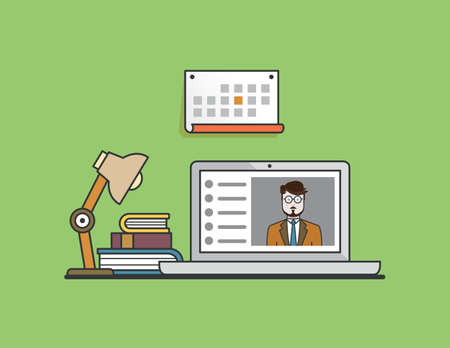 elearn: Flat concept of e-learning. Illustration