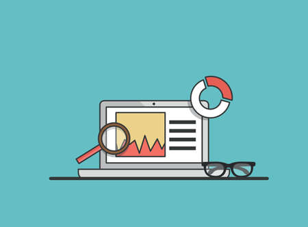 Flat illustration of web analytics information  Vector