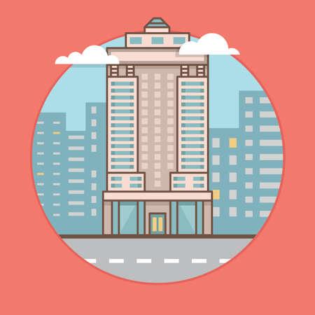 high rise: Vector flat illustration of city skyscraper - vector illustration